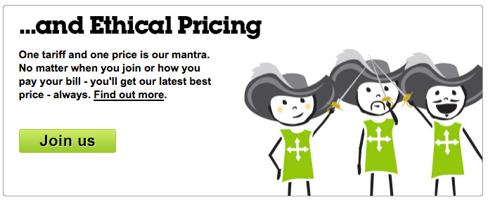 Ecotricity - ethical pricing