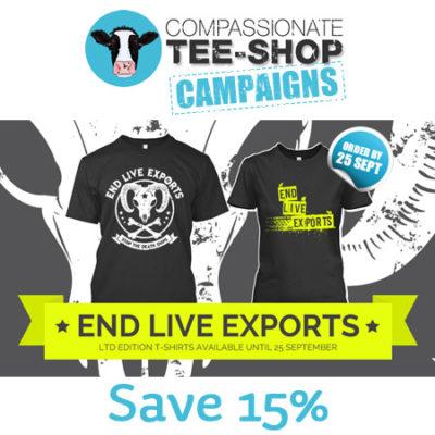 15% off #EndLiveExports Tshirts